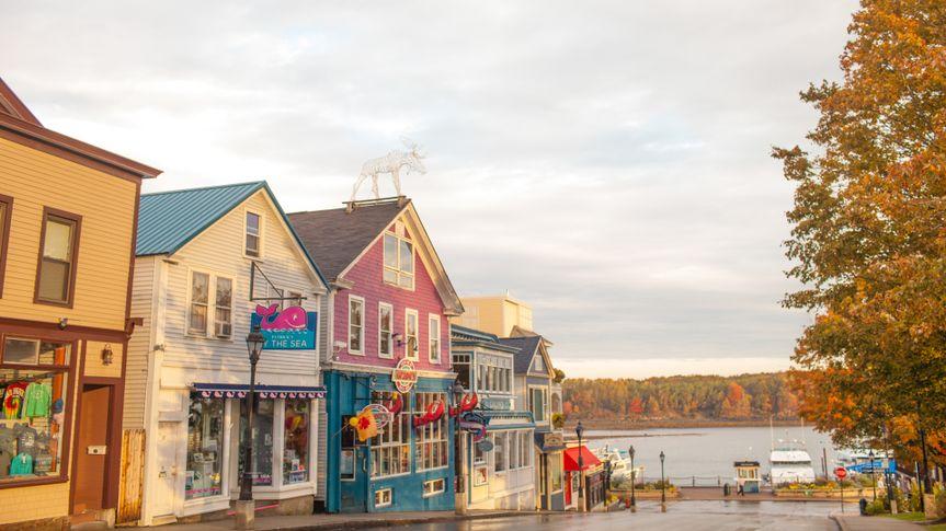 Bar Harbor Maine town square.