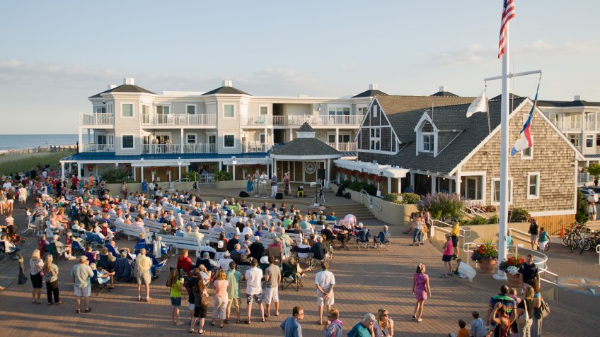 Bethany Beach, Delaware, USA - July 15, 2011: Evening concerts are held on Friday and Saturday nights during the summer at the bandstand on the boardwalk in Bethany Beach, Delaware, USA.