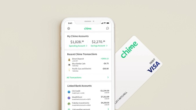 Chime mobile app and debit card