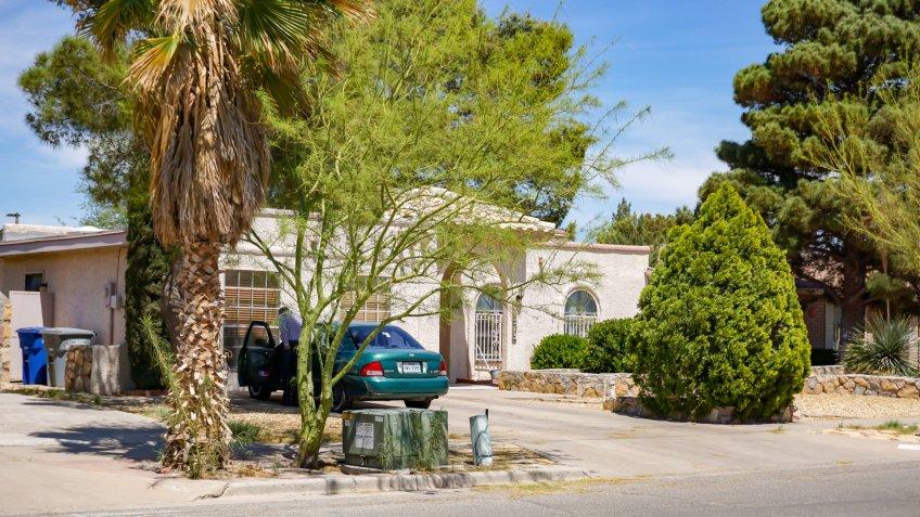 El Paso, Texas / USA - 9 April 2019: Typical suburban type home in El Paso, Texas - Image.