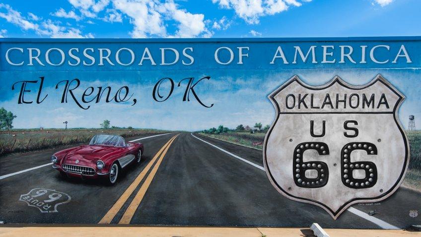 "EL RENO, OK/USA - MAY 8: ""Crossroads of America"" mural, on Route 66, on May 8, 2013, in El Reno, Oklahoma."