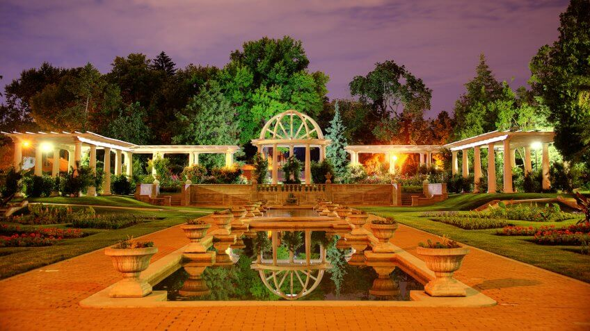 Lake Side Park, Rose Garden, Fort Wayne, Indiana, Night Shot.