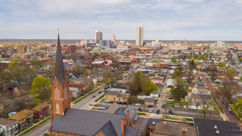 Aerial View Over The Urban City Center Skyline in Fort Wayne Indiana - Image.