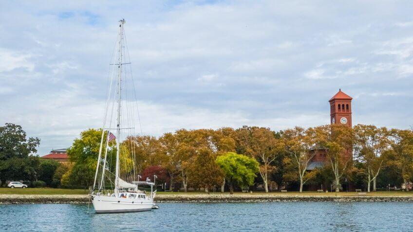 A sailboat anchored beside Hampton University in Hampton, Virginia.