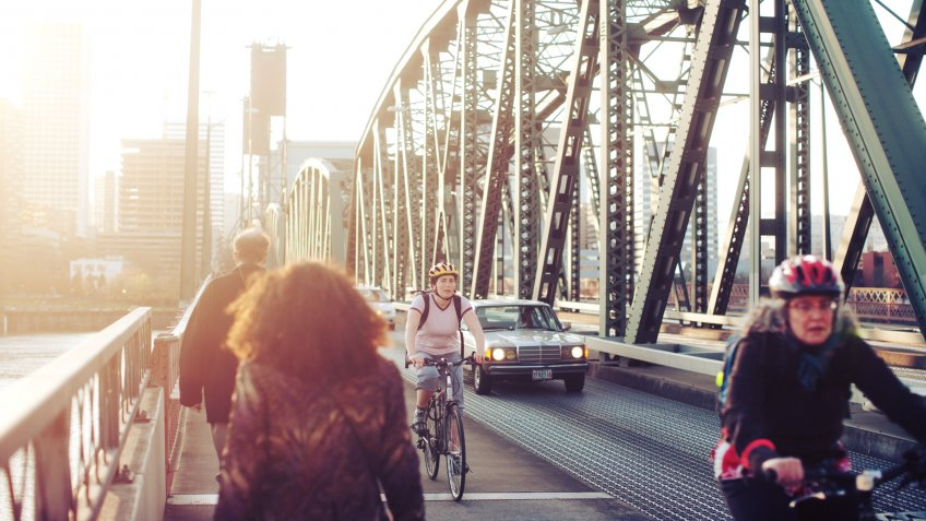 """Women, Cycling, Hawthorne Bridge, Oregon, Pedestrian, Portland - Oregon, Sunset"", Willamette River"