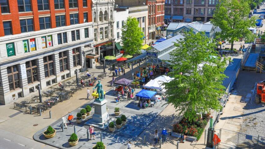 LEXINGTON, KENTUCKY - MAY 13, 2017: Lexington hosts a farmer's market downtown every Saturday year round.