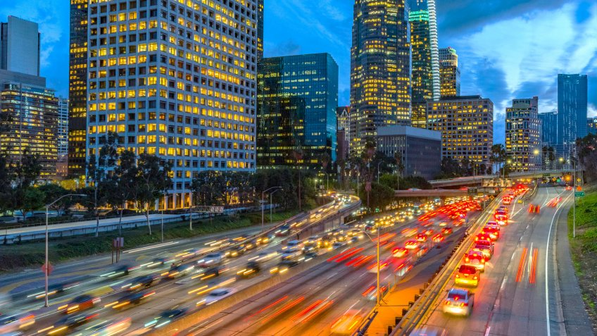 Evening traffic in downtown Los Angeles.