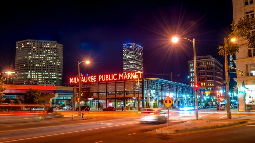 Aug 08 2015 Milwaukee Wisconsin United States The Milwaukee Public Market in the Historic Third Ward section of Milwaukee Wisconsin at night - Image.
