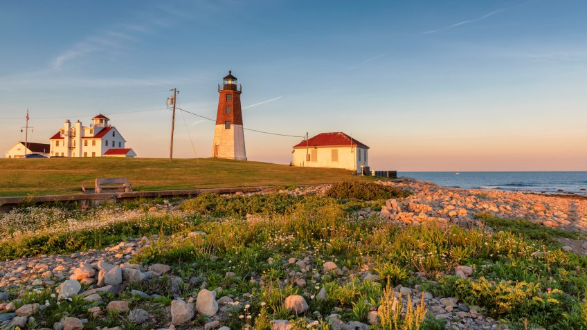 Spectacular Sunset at Rhode Island Lighthouse, Point Judith lighthouse, near Narragansett, Rhode Island, USA.