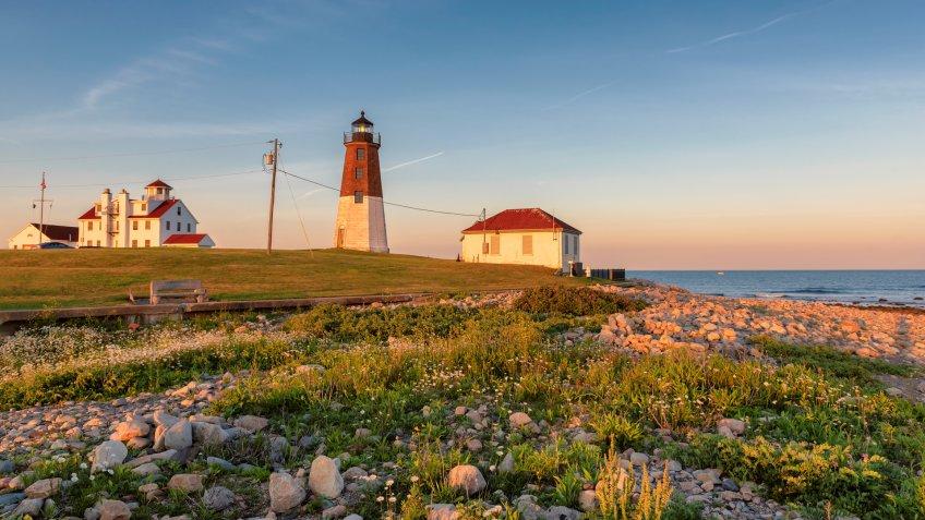 Spectacular Sunset at Rhode Island Lighthouse, Point Judith lighthouse, near Narragansett, Rhode Island, USA.