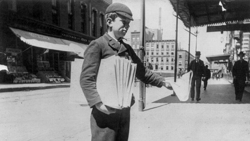 Newsboy in 1896