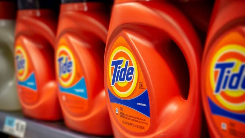 New York NY/USA-January 22, 2019 Bottles of Procter & Gamble's Tide detergent in a supermarket in New York - Image.