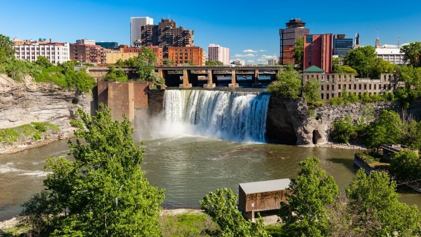 Waterfall near downtown Rochester, New York, USA.