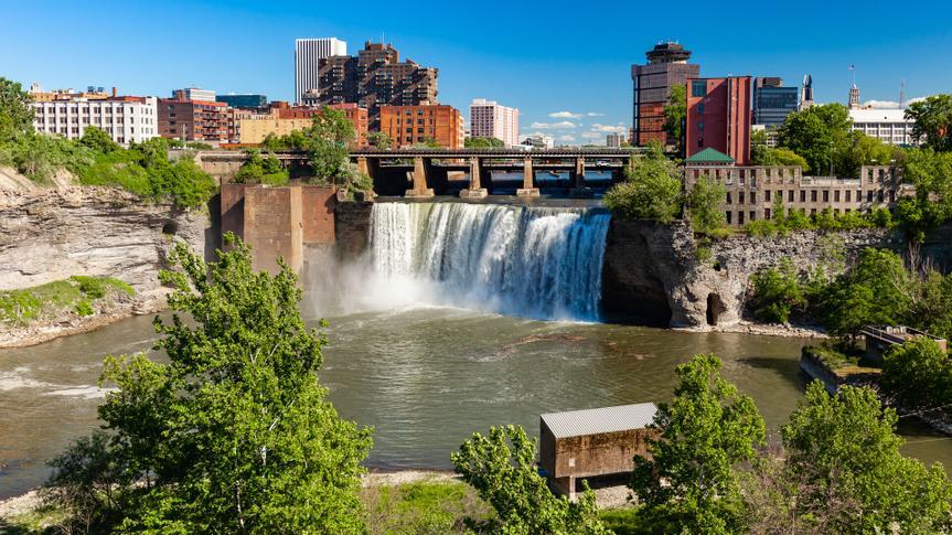 Waterfall near downtown Rochester, New York, USA.