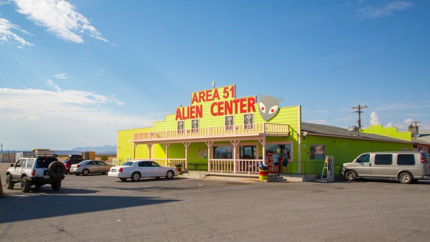 Nevada, USA - August 10, 2017: Area 51 Alien Center shop and gas station near death valley.