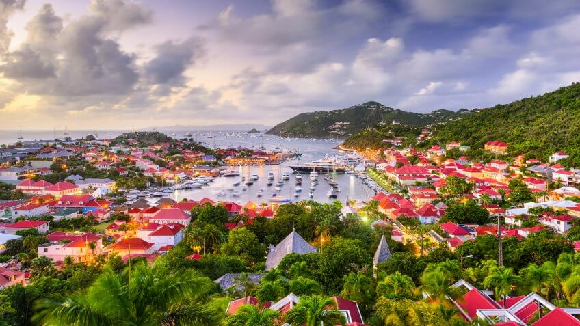 Saint Barthelemy harbor and cityscape in the West Indies.