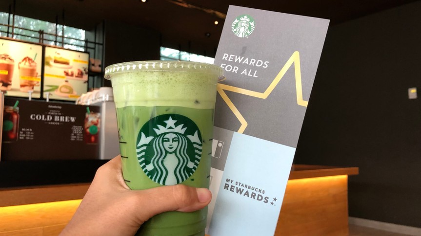 Starbucks coffee with Rewards card