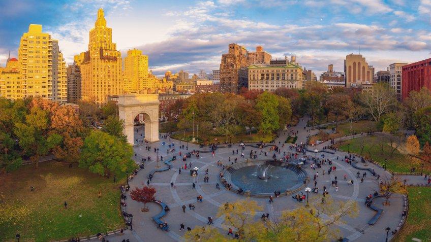 Washington square park aerial view New York City.