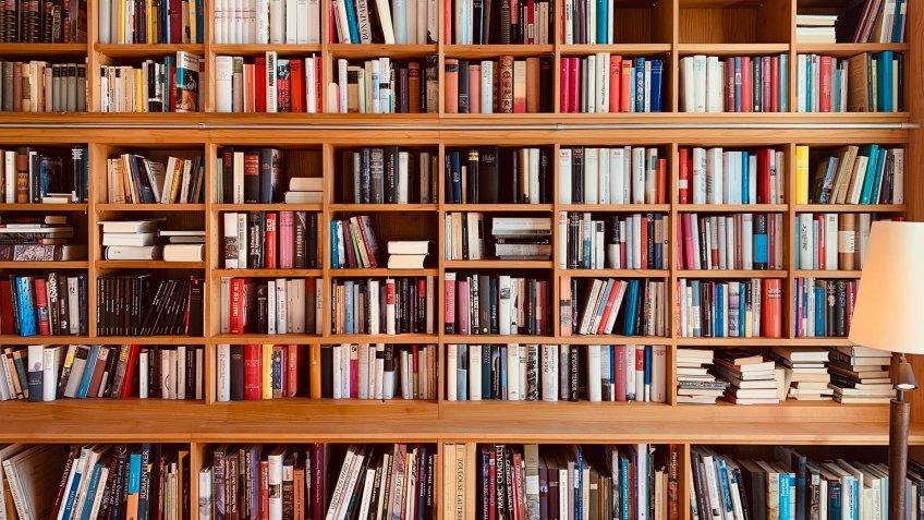 Wooden brown books shelves.