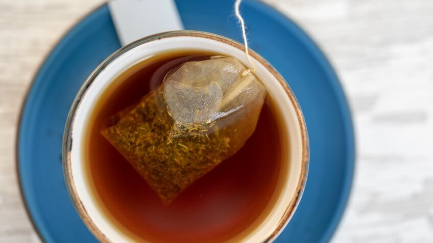 Cup of tea with teabag.