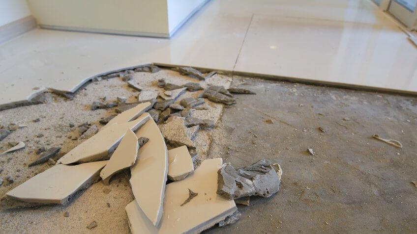 broken tile on ground