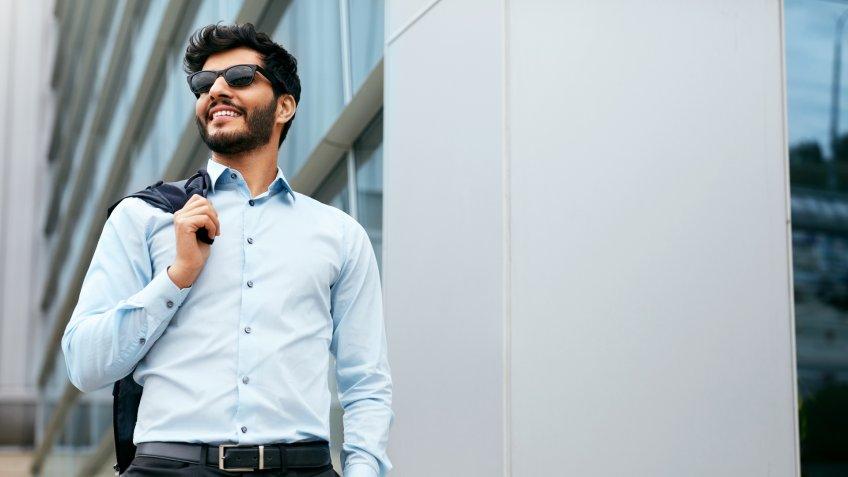 Business Man Portrait Near Office.