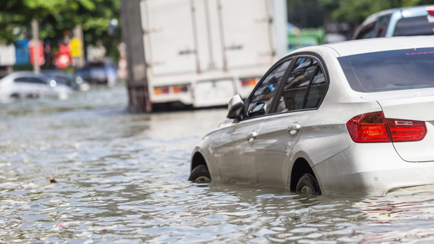 car in flooded water damage