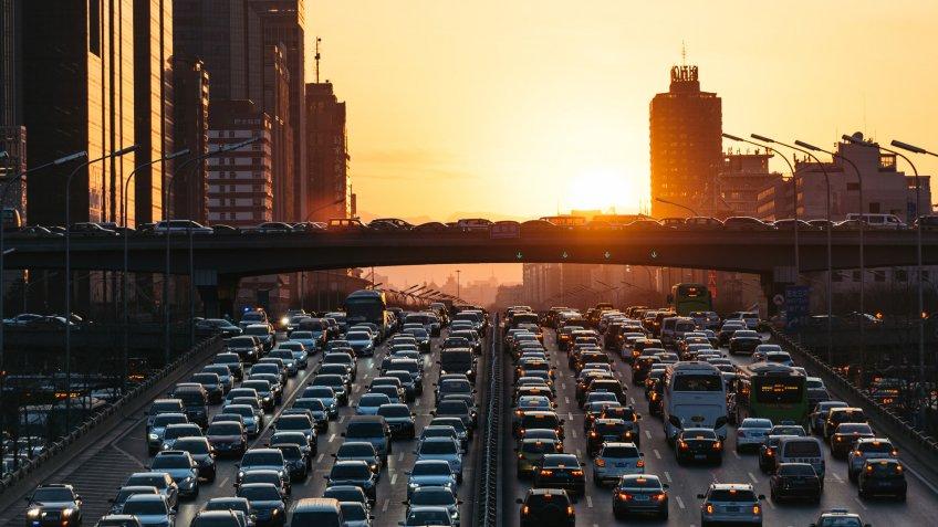 city traffic jam.