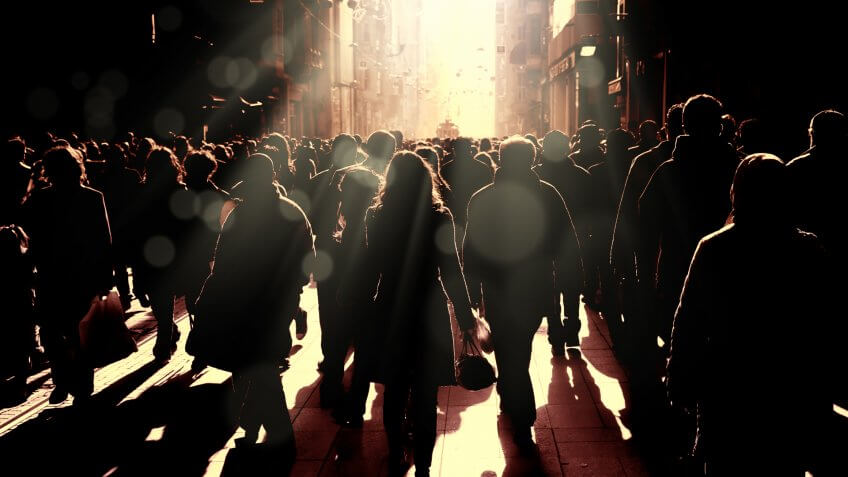 Close up image of crowded people walking on busy street in Istanbul, Turkey.