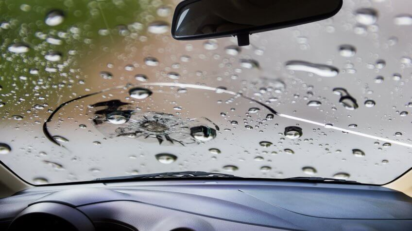 cracked damaged windshield from water