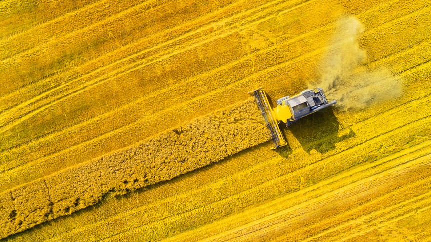 Aerial view of combine harvester.