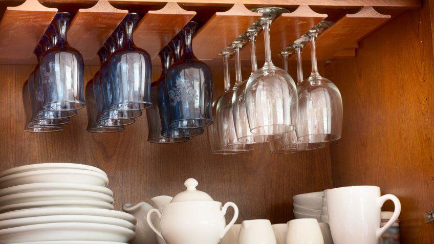 glassware in cupboard