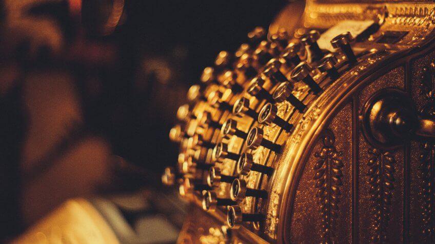 gold vintage cashier register