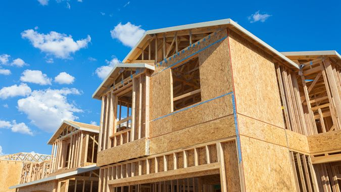 A new house being built in the suburbs of Las Vegas.
