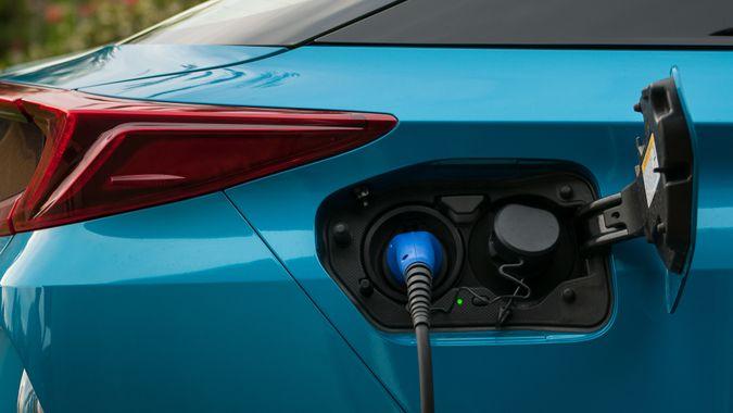 hybrid electric car plugged in
