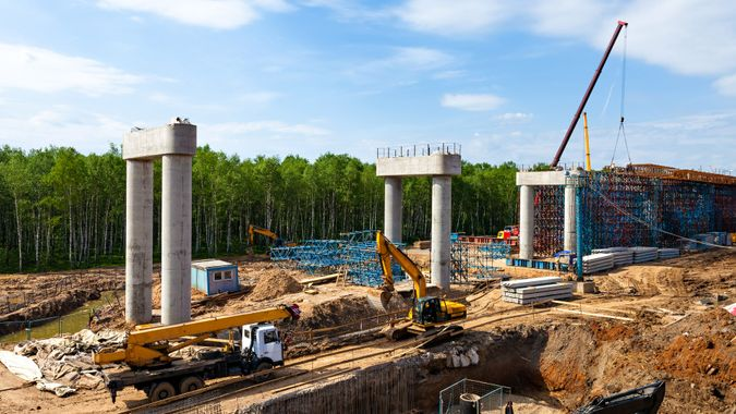 Transport interchange construction in Moscow, Russia.