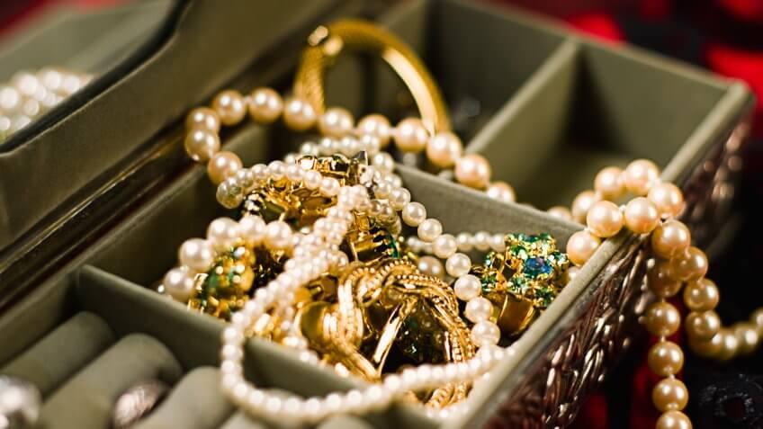 A small box full of glittering jewels.