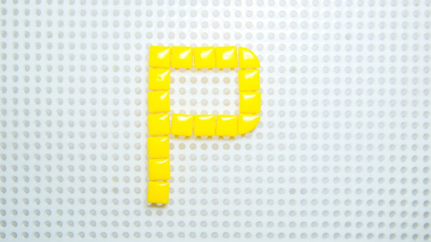 letter P created with children toys similar to pixels - Image.