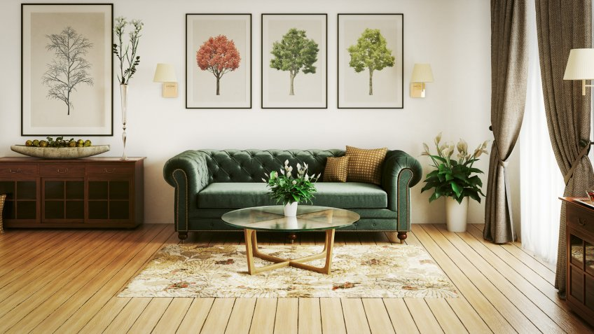 Digitally generated luxurious and stylish home interior (living room) with high-quality furniture and props.