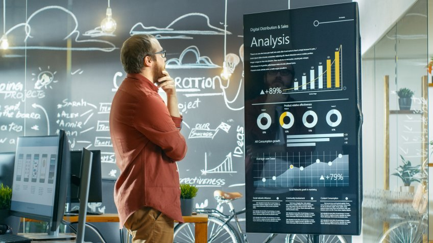 Marketer Looks at Interactive Touchscreen Whiteboard Showing Latest Graphs and Charts on Statistical Growth.
