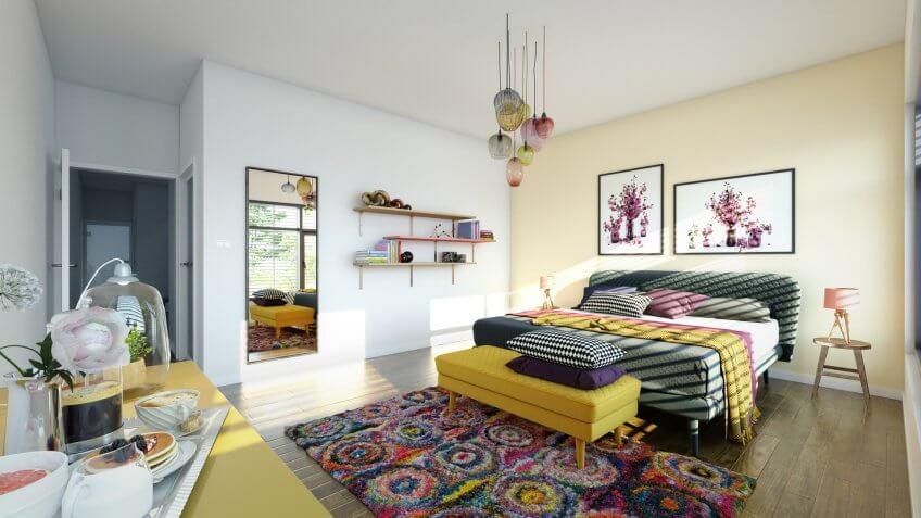 Digitally generated warm and cozy modern bedroom interior design.