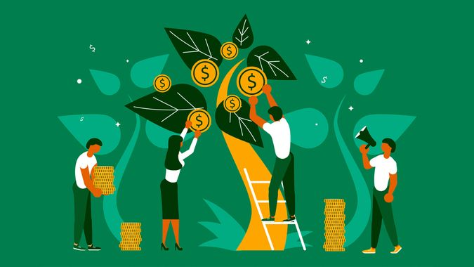 Business people, man and woman plant a money tree or picking dollars from money tree.