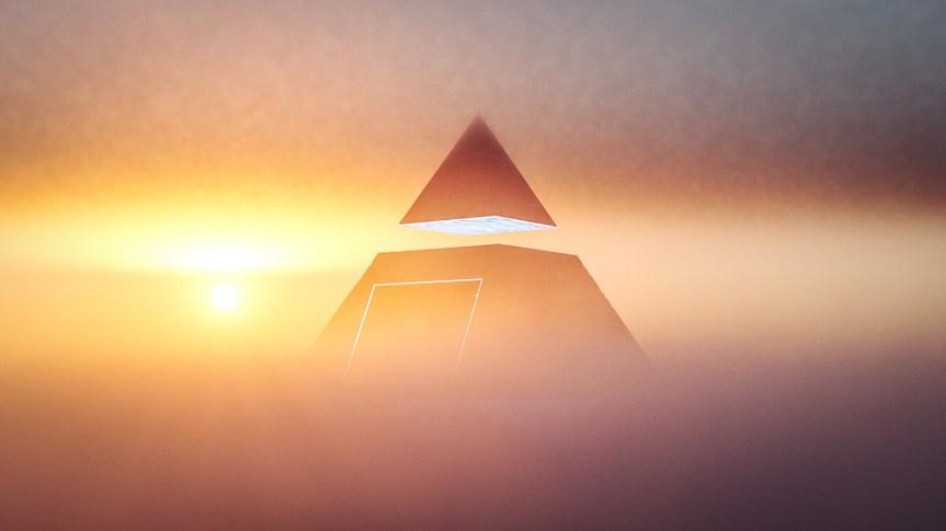 pyramid scheme concept at sunset