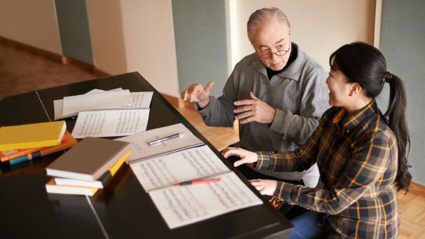 Shot of a piano teacher instructing a music studenthttp://195.