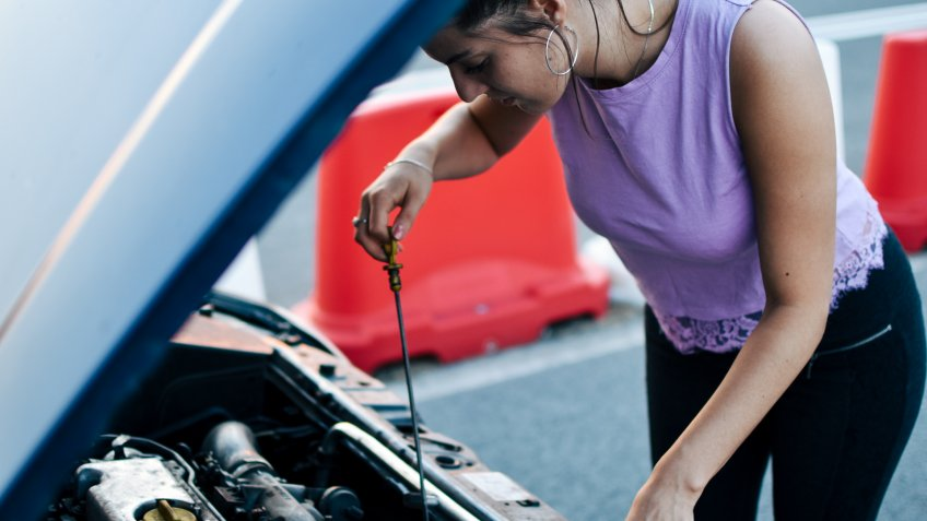 Car, Repairing, One Woman Only.