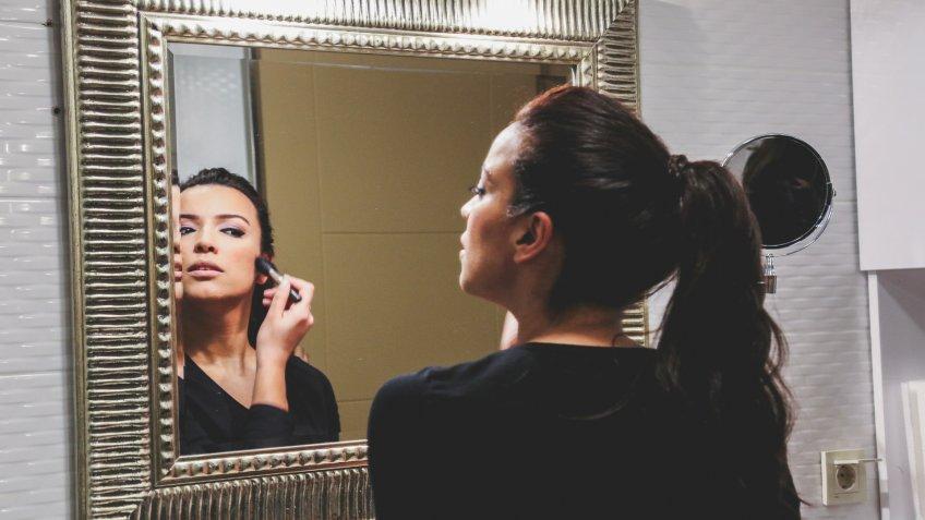 Morning makeup routine.