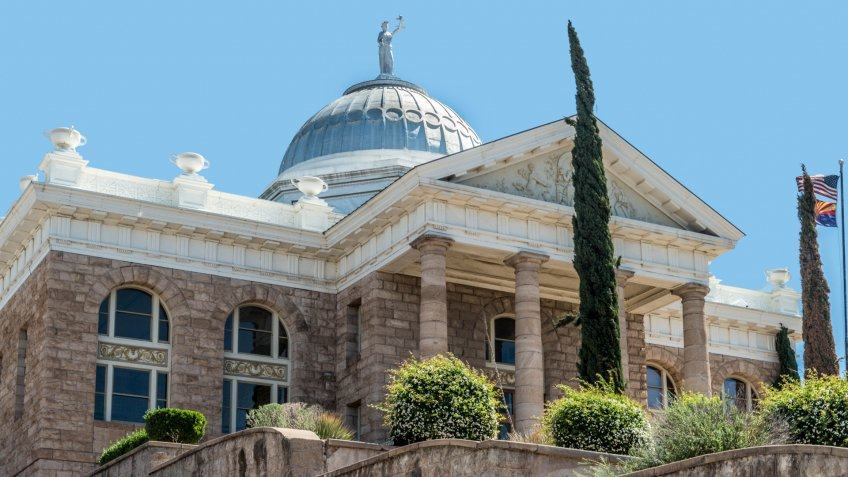 Old courthouse for Santa Cruz County in Nogales, Arizona - Image.