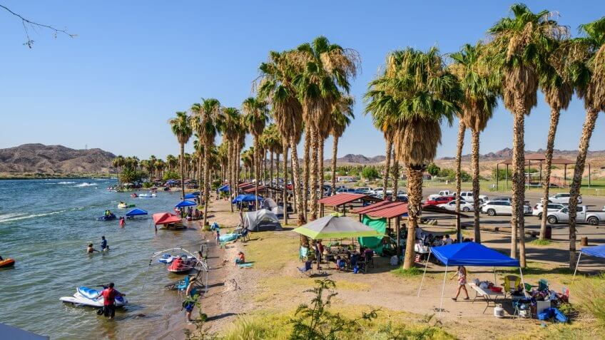 Bullhead City,Arizona, USA - July 01,2017 :  Colorado River in Bullhead City with lots of tourists on a hot summer day.