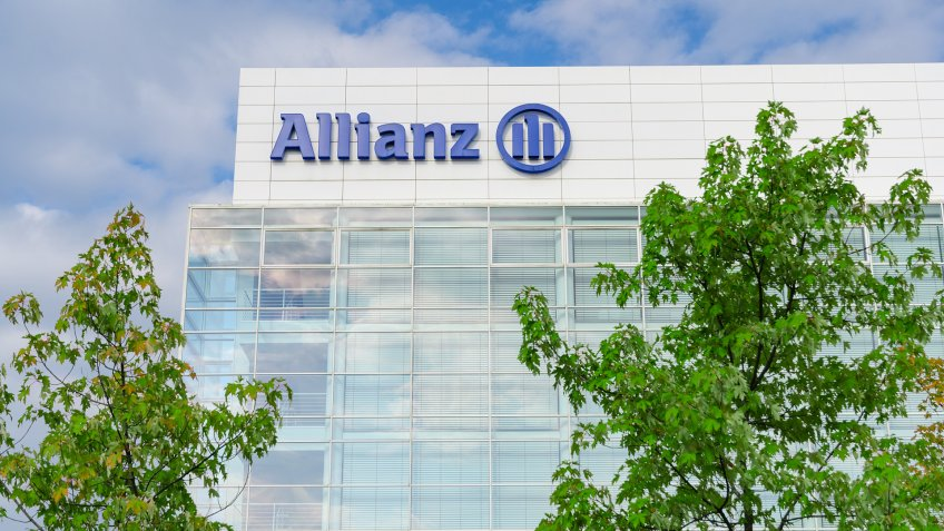 Munich, Germany - August 22, 2014: Modern headquarters and office building of Allianz SE insurance company and financial investment group - Image.