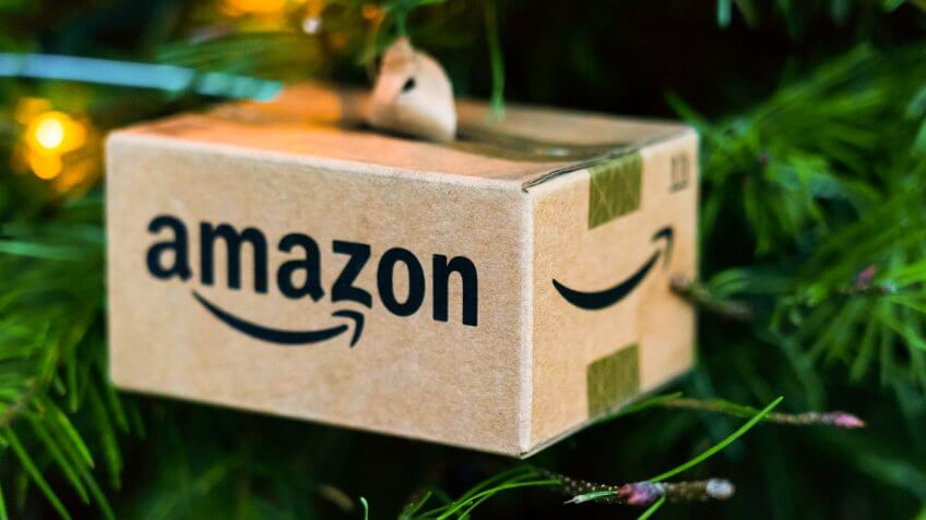 Christmas coming, amazon shipping box in San Jose - Silicon Valley's City Center 12/02/2018 - Image.